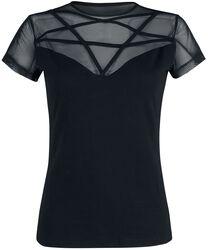 Schwarzes T-Shirt mit Spitze und Pentagram