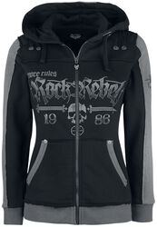 Black Hooded Jacket with Rock Rebel and Skull Prints
