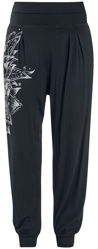 Sport and Yoga - Relaxed Black Fabric Trousers with Detailed Print