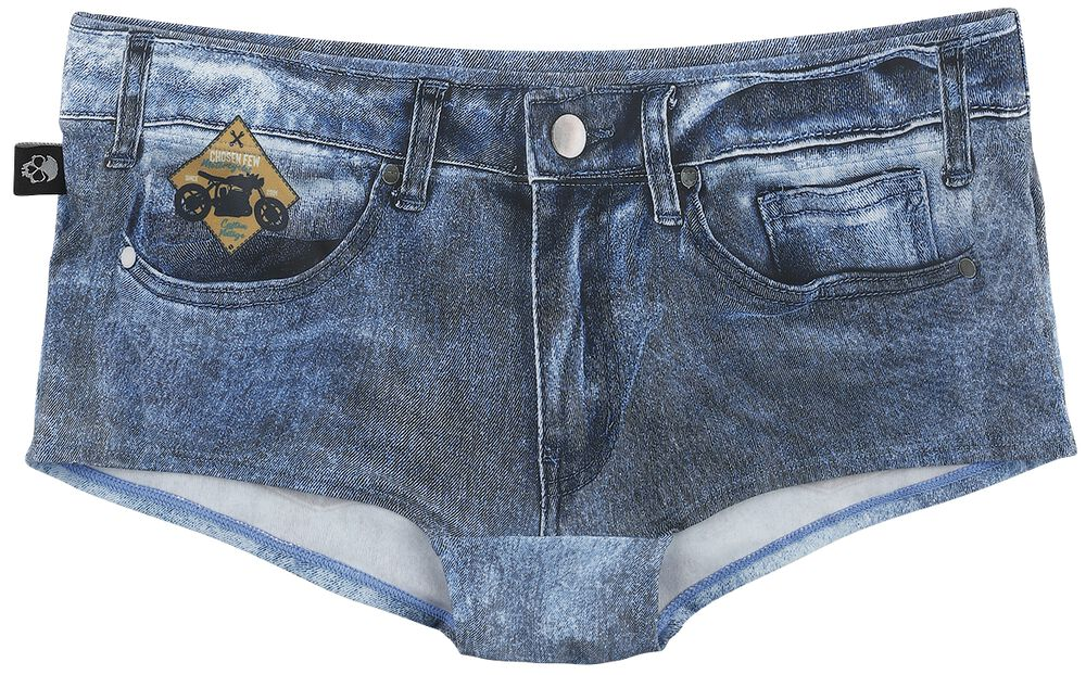 Dark Blue Jeans-Look Bikini Bottoms