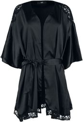 Black Dressing Gown with Lace Details