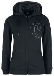 Hooded Jacket with Cats and Galaxy Print