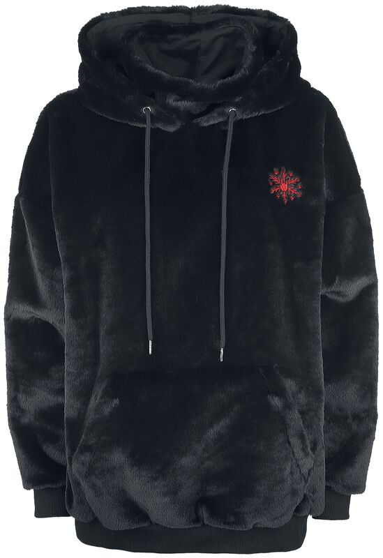 Fluffy Black Hoodie with Rockhand Embroidery