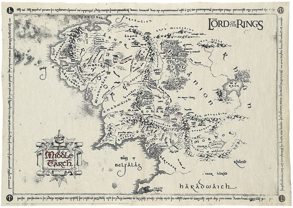 Lord Of The Rings Middle Earth Map Middle Earth Map | The Lord Of The Rings Poster | EMP