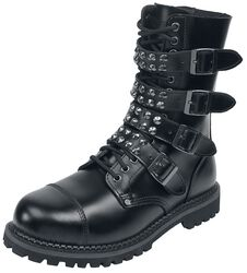 Black Lace-Up Boots with Studded Buckles