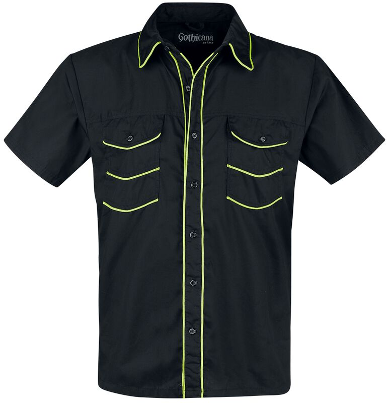 Black Short-Sleeve Shirt with Neon-Coloured Details