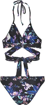 Ladies Draped Flower Pattern Bikini