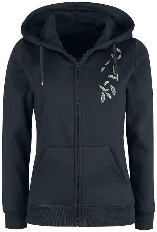 Hooded Jacket with Feather Print