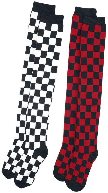 2-Pack Checkerboard Overknees