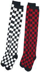 2er Pack Checkerboard Overknees
