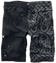 Black swim shorts with print on one side