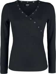 schwarzes Langarmshirt mit Ösen und V-Ausschnitt